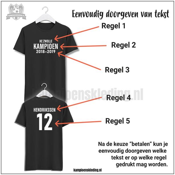 Hoe werkt doorgeven tekst, naam, nummers en logo? Kampioenskleding.nl