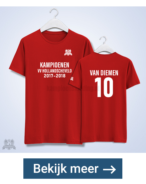 Kampioensshirts twee zijden bedrukt + logo | Geleverd binnen 5 dagen