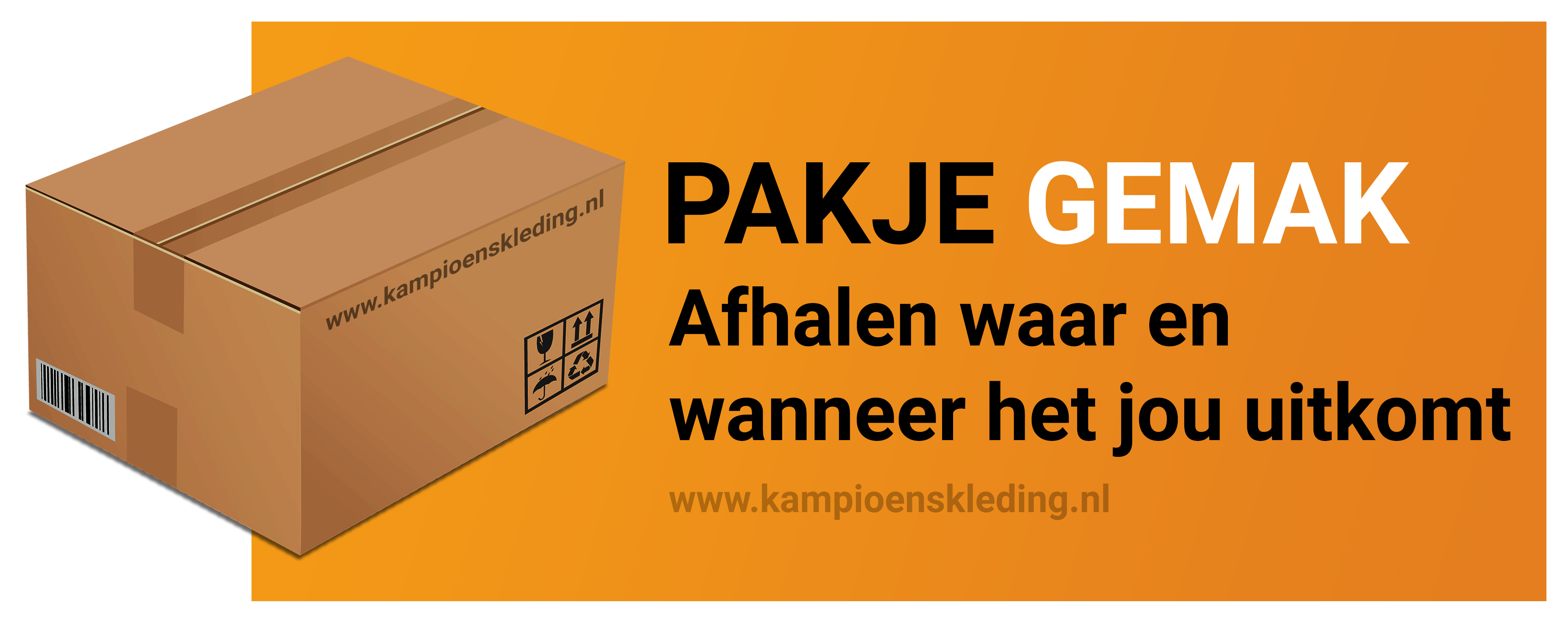 Pak je gemak, afhalen wanneer het je uitkomt | kampioenskleding.nl
